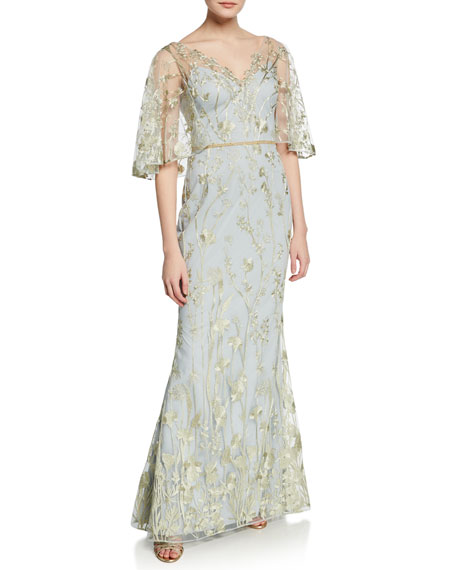 Marchesa Notte Tops FLORAL-EMBROIDERED V-NECK MERMAID GOWN WITH CAPE ILLUSION