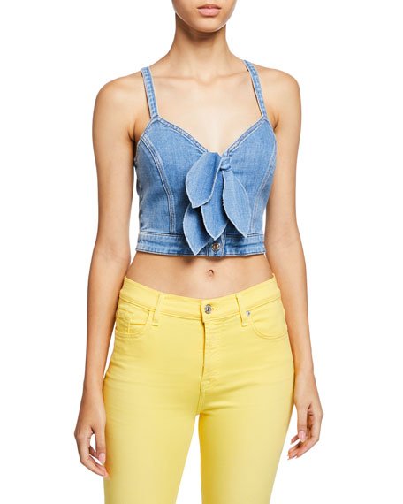7 For All Mankind Denims CROPPED DOUBLE TIE-FRONT DENIM BUSTIER