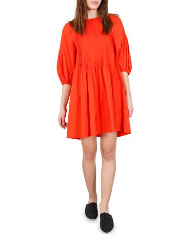 Pintuck Short-Sleeve Dress