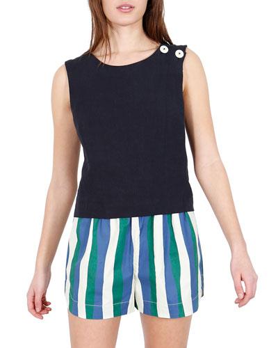 Luna Cross-Back Linen Top