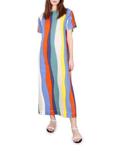 Sonora Striped Button-Back Long Dress