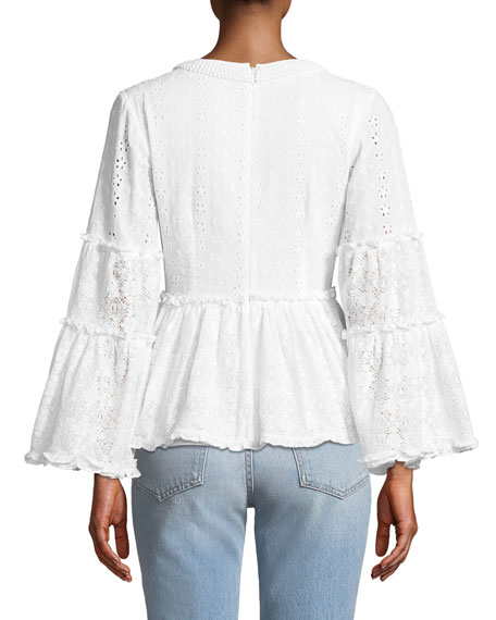 Melitta V-Neck Long-Sleeve Eyelet & Lace Blouse