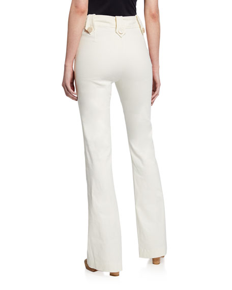 Esben High-Rise Flare Pants with Sailor Buttons