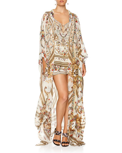 Oversized Floral Print Silk Robe Coverup