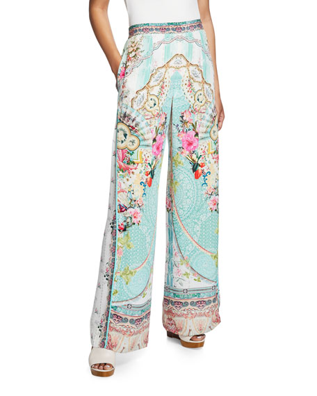 Camilla Wide-Leg Printed Pants with Side Pleat