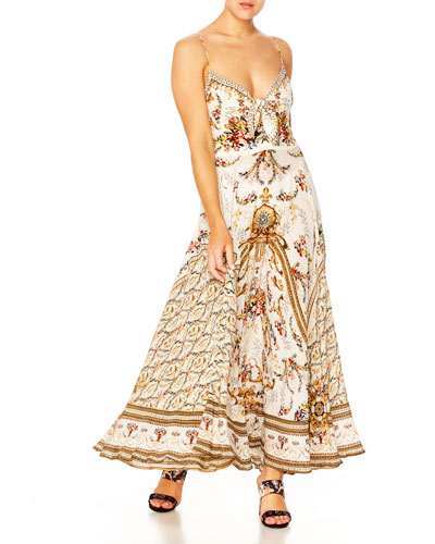Printed V-Neck Sleeveless Tie-Front Maxi Dress