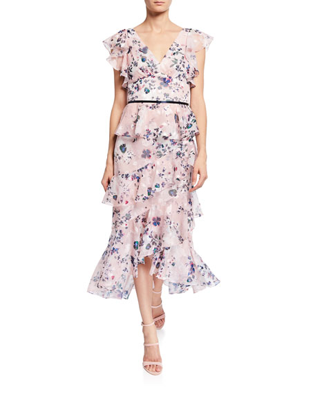 94f169e3be1 Marchesa Notte Floral-Print Burnout Chiffon V-Neck Flutter-Sleeve Ruffle  Dress