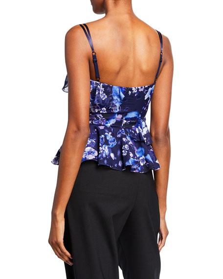 Floral-Printed Burnout Chiffon Sleeveless Peplum Top w/ Ruffle Detailing