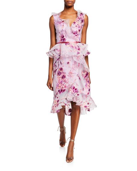 Marchesa Notte Sleeveless V-Neck Floral Organza Peplum Dress
