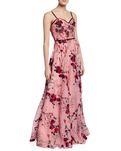 Printed Floral-Embroidered Sleeveless Organza Gown w/ Beaded Bodice