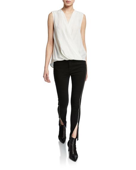 Nina High-Rise Ankle Skinny w/ Zippers