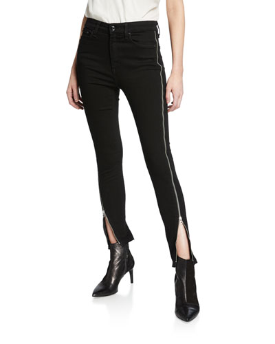 Nina High-Rise Ankle Skinny w/ Zippers