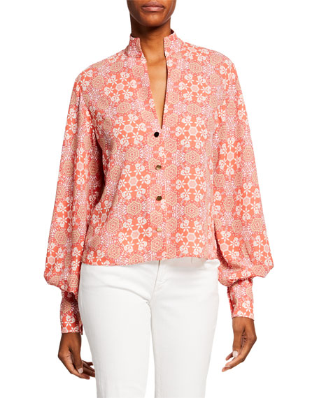 Alexis Bertha Printed Button-Front Bishop-Sleeve Blouse