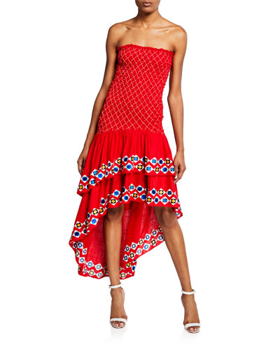 Revada Strapless High-Low Embroidered Dress