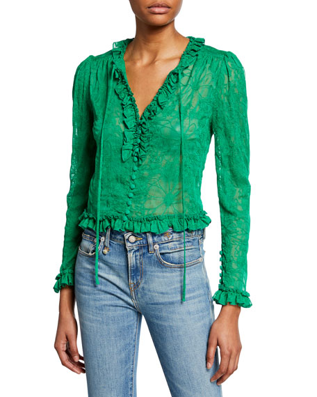 Alexis Tops SAXON EMBROIDERED BUTTON-FRONT LONG-SLEEVE CROP TOP W/ RUFFLE TRIM