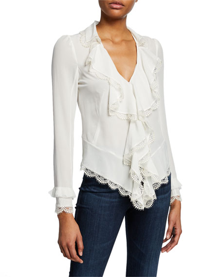 Alexis Tops PHINEAS V-NECK LONG-SLEEVE SILK RUFFLE BLOUSE WITH LACE