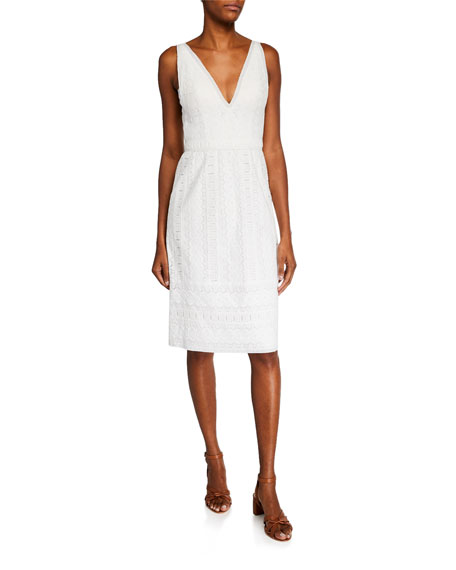 Catherine Deane Dresses MATEO V-NECK SLEEVELESS COTTON LACE DRESS