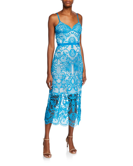 Catherine Deane Dresses MIMOSA SLEEVELESS GRAPHIC LACE COCKTAIL DRESS