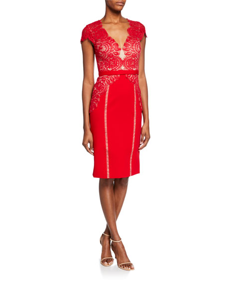 Catherine Deane Maya Lace-Bodice Cap-Sleeve Cocktail Dress
