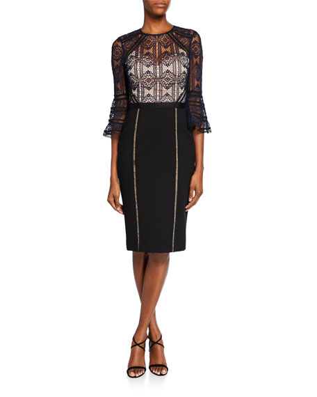 Catherine Deane Mira Bell-Sleeve Lace Cocktail Dress