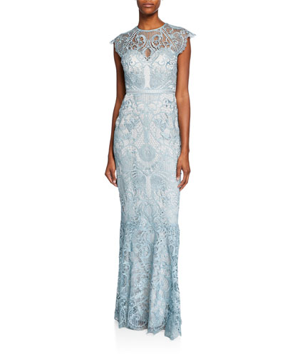 Miracle Scallop Lace Cap-Sleeve Gown with Open-Back