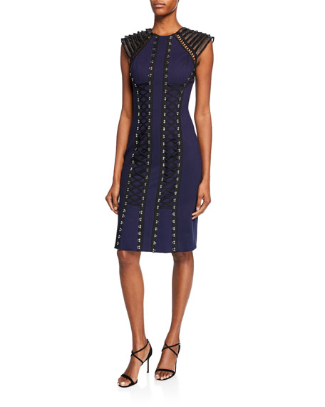 Catherine Deane Dresses MYA TIERED CAP-SLEEVE PONTE DRESS W/ GROSGRAIN RIBBON LACE-UP FRONT