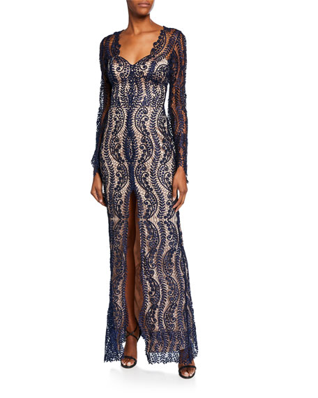 Catherine Deane Tops MISTELLE V-NECK LONG-SLEEVE LACE OVERLAY GOWN