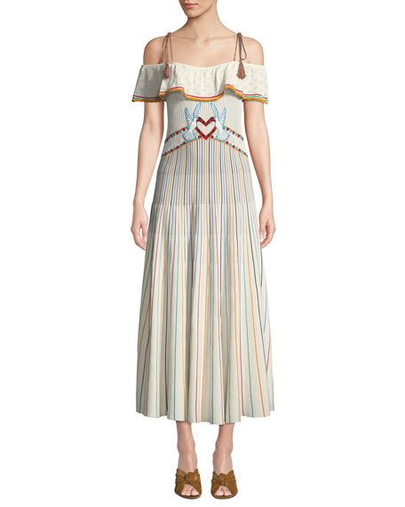 REDValentino Long Off-the-Shoulder Multicolor Striped Yarn Dress