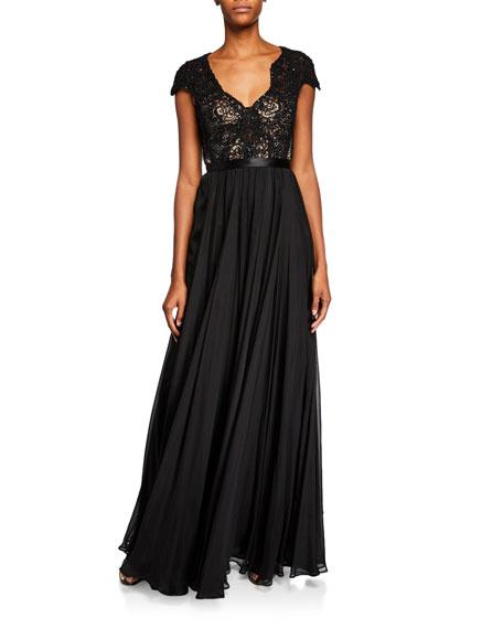 Meike Beaded Silk Open-Back Gown