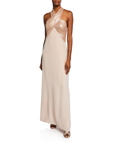 Sequin Crepe Halter Gown