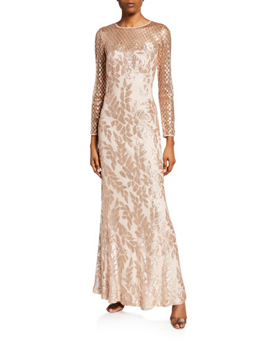 Sequined Jewel-Neck Long-Sleeve Crepe Gown