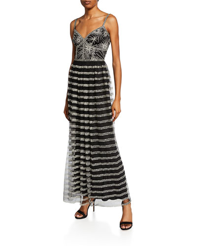 V-Neck Sleeveless Corset Lace Gown