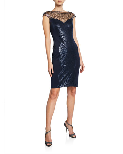 Sequin Sweetheart Illusion Cap-Sleeve Cocktail Dress