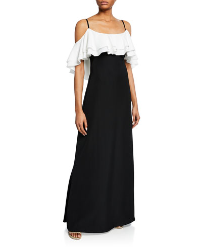 Colorblock Cold-Shoulder Ruffle Crepe Gown