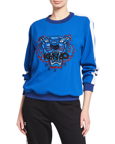 Embroidered Tiger Logo Pullover Sweater