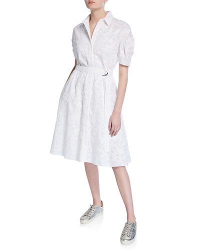 Shirting Belted Short-Sleeve Dress