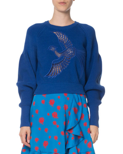 Lace Phoenix Ribbed Pullover Sweater