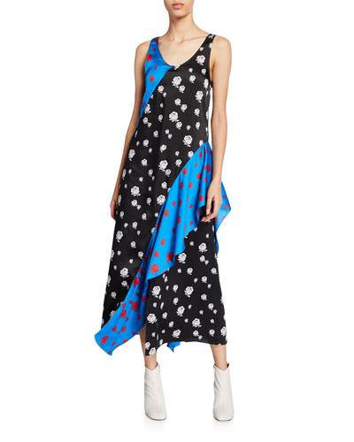 Rose-Print Long Ruffle Slip Dress