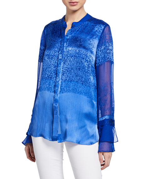 Elie Tahari Patsy Satin Button-Front Blouse