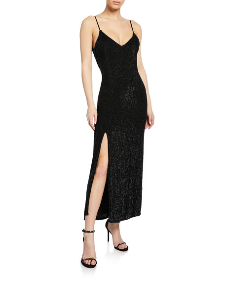 Retroféte Dresses REBECCA SEQUINED V-NECK SLIT COCKTAIL DRESS