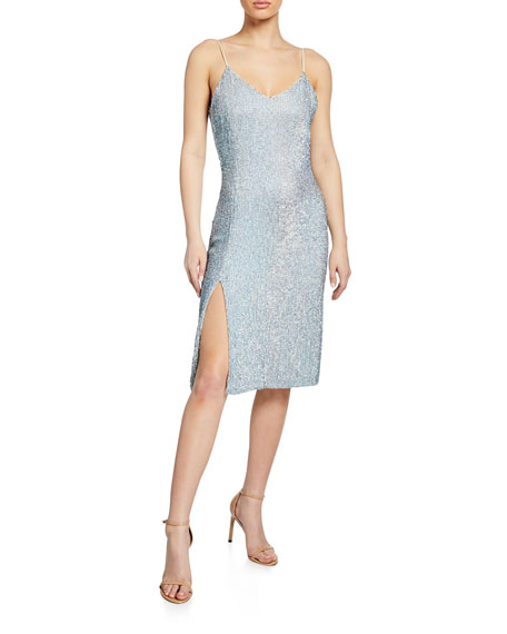 Denisa Sequin V-Neck Sleeveless Cocktail Dress