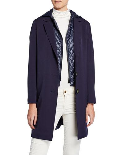 52dd8d8dbb8 Wool Coat w  Quilted Hood   Bib Navy Quick Look. Cinzia Rocca