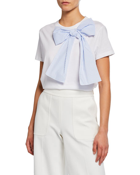 REDValentino Short-Sleeve Cotton Tee with Striped Bow
