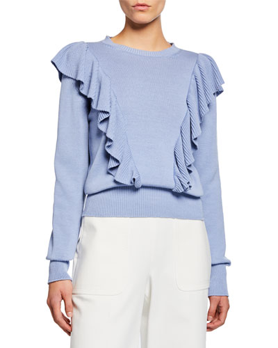 Cascading Ruffle Pullover Sweater