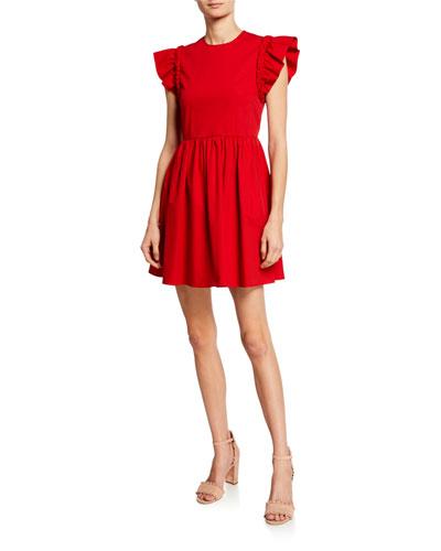 Crewneck Ruffle-Sleeve Mini Cotton Dress