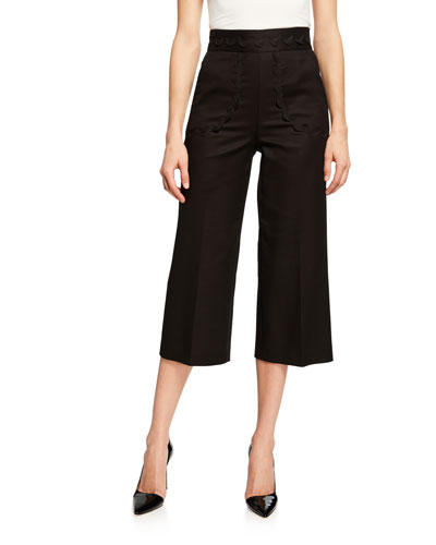 Cotton Cady Cropped Pants with Ribbon Detail