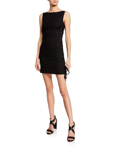High-Neck Sleeveless Mini Dress w/ Lace-Up Sides