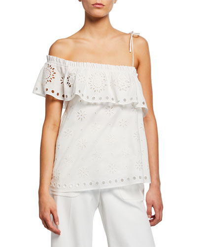 Button-Front Short-Sleeve Cropped Eyelet Shirt