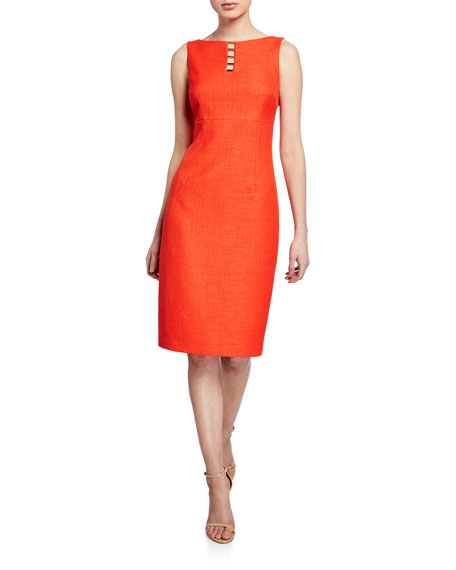 795abd5e7cc7b Elie Tahari Doreen Boat-Neck Sleeveless Dress