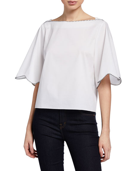 Elie Tahari Orianna Scalloped Boxy Cropped Blouse